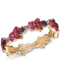 Nine West | Metallic Gold-tone Multi-stone Stretch Bracelet | Lyst