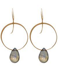 Melissa Joy Manning | Metallic Gold And Labradorite Hoop Drop Earrings | Lyst