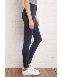 Forever 21 - Blue Skinny Heathered Pants - Lyst