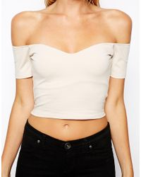 ASOS | Natural Crop Top with Sweetheart Neck and Off Shoulder | Lyst