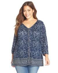 Lucky Brand | Blue Handkerchief Print V-neck Top | Lyst