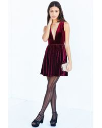 Lucca Couture | Purple Plunging Velvet Mini Dress | Lyst