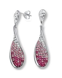Amanda Rose Collection | Multicolor Sterling Silver Dangle Earrings With Pink And White Swarovski Crystal Elements | Lyst