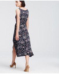 cc1e28d5b7d733 Ann Taylor Petite Paisley Print Belted Jersey Midi Dress in Blue - Lyst