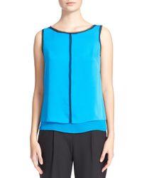MILLY - Blue Stretch Silk Shell - Lyst