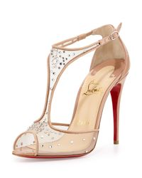 Christian Louboutin - Natural Patinana Strass Red Sole Sandal - Lyst