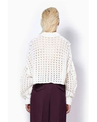 3.1 Phillip Lim - White Cable And Popcorn Cropped Pullover - Lyst