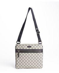 Gucci - Blue Canvas Gg Plus Adjustable Strap Shoulder Bag for Men - Lyst