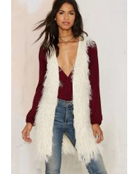 Nasty Gal | Natural Faux Mo Shaggy Vest | Lyst