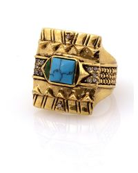 House of Harlow 1960 | Metallic Cushion Cocktail Ring With Turquoise | Lyst