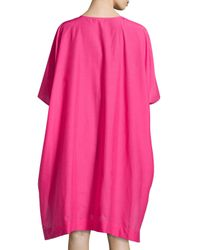 Josie Natori - Pink Lucille Floral Embroidered Caftan - Lyst