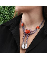 Wendy Yue - Purple Carved Coral Floral Necklace - Lyst