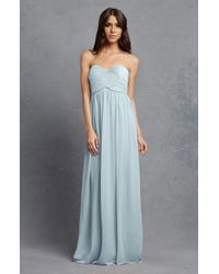 Donna Morgan | Blue 'laura' Strapless Ruched Chiffon Gown | Lyst