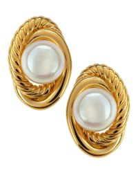 Majorica | Metallic Rope Knot Pearl Stud Earrings | Lyst