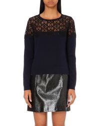 Claudie Pierlot | Blue Marie Lace-yoke Jumper | Lyst