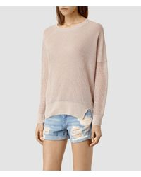 AllSaints - Pink Row Sweater - Lyst