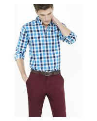 Express - Purple Outlined Check Plaid Fitted Dress Shirt - Bordeaux Blue for Men - Lyst