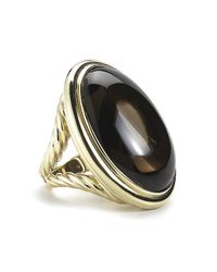 David Yurman - Black Pre-owned Oval Smoky Quartz Cocktail Ring in 18ky - Lyst