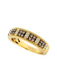 Le Vian | Metallic 14kt. Yellow Gold Brown And White Diamond Band | Lyst