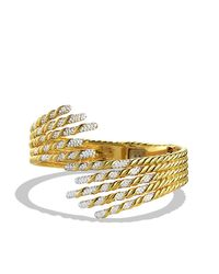 David Yurman - Metallic Willow Open Five-row Bracelet With Diamonds In Gold - Lyst