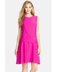 Donna Morgan - Pink Sleeveless Charmeuse Popover Dress - Lyst