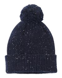 Toast | Blue Fine Donegal Rib Bobble Beanie | Lyst