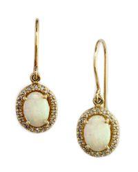 Effy | Metallic Opal, Diamond And 14k Yellow Gold Oval Drop Earrings | Lyst