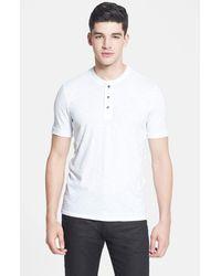 Vince | White Slubbed Cotton Short Sleeve Henley for Men | Lyst