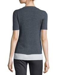JOSEPH - Gray Short-sleeve Ribbed Sweater W/ Blouse Layer - Lyst
