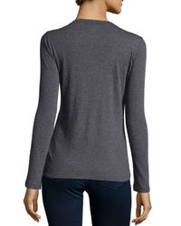 Neiman Marcus - Gray Cashmere Long-sleeve Crewneck Top - Lyst