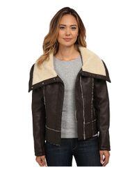 Sam Edelman | Brown Pu W/ Oversize Sherpa Collar Moto Jacket | Lyst