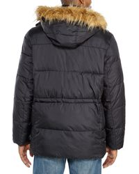Cole Haan | Black Faux Fur Trim Hooded Parka for Men | Lyst