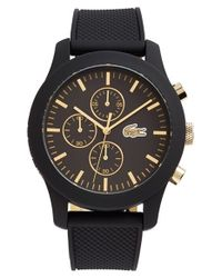 Lacoste | Black '12.12' Chronograph Silicone Strap Watch for Men | Lyst