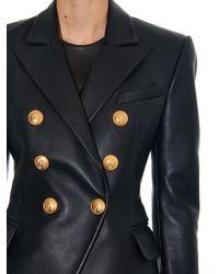 Balmain - Black Double-Breasted Leather Blazer - Lyst