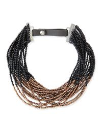 Brunello Cucinelli - Brown Agate Copper Beaded Choker Necklace - Lyst
