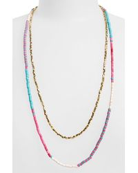 Panacea - Pink Beaded Multistrand Necklace - Lyst