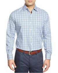 Peter Millar - Blue Melange Plaid Long Sleeve Sport Shirt for Men - Lyst