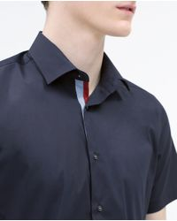 Zara | Blue Stretch Shirt for Men | Lyst