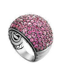 John Hardy - Bedeg Silver Lava Pink Sapphire Dome Ring - Lyst