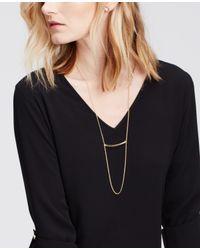 Ann Taylor - Metallic Bar Pendant Necklace - Lyst