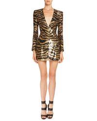 Balmain - Metallic Sequined Tiger-stripe Mini Dress - Lyst