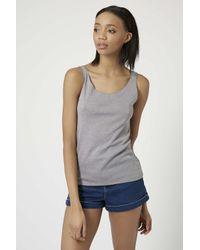 TOPSHOP - Gray Cotton Jersey Blend Vest - Lyst