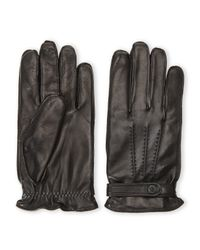 The Kooples | Black Leather Snap-Cuff Gloves for Men | Lyst