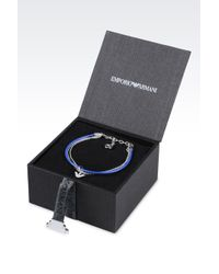 Emporio Armani | Blue Bracelet And Earrings In Silver | Lyst