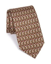 Ferragamo | Brown Giraffe & Bird Print Silk Tie for Men | Lyst
