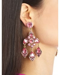 Oscar de la Renta - Purple Magenta Swarovski Crystal Chandelier Earrings - Lyst