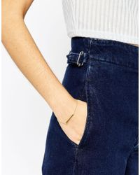 ASOS - Metallic Gold Plated Sterling Silver Solid Bar Chain Bracelet - Lyst
