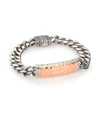 John Hardy | Metallic Palu Bronze & Sterling Silver Large Gourmette Chain Id Bracelet for Men | Lyst