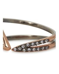 Katie Rowland - Pink Salome Rose Gold And Black Rhodium Ring - Lyst