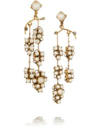 Erickson Beamon | Metallic Grapes Of Wrath Gold-plated, Swarovski Crystal And Faux Pearl Earrings | Lyst